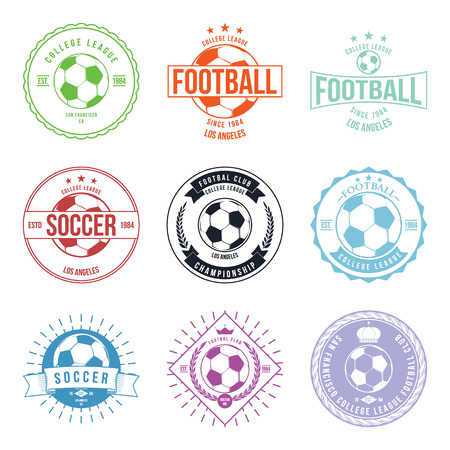 sports winner: Soccer Football Typography Badge Design Element vector