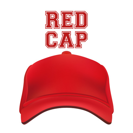 hat with visor: Red Cap isolated on white. Vector illustration