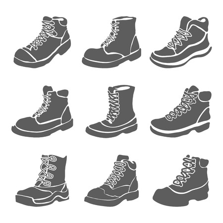 foot soldier: Set of nine different boots illustration isolated on white background vector