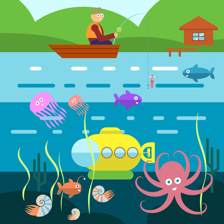 life style: Flat Style Underwater Life with Fisherman on a boat Vector Illustration Illustration