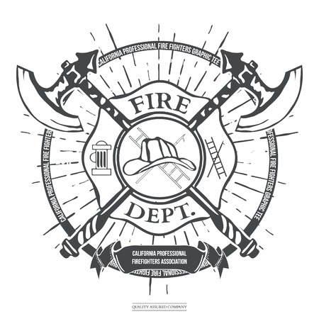black hat: Fire Dept. Label. Helmet with Crossed Axes T-shirt Graphics. Vector Illustration