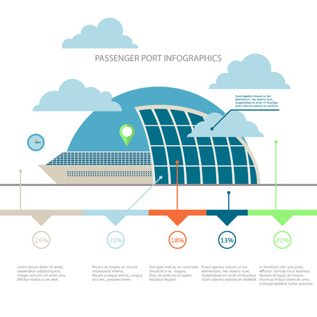 port: Passenger port infographics vector illustration flat design