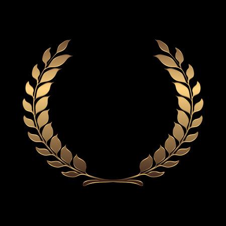 Coronas de premio de oro del vector, laurel sobre fondo negro ilustración vectorial Foto de archivo - 42460215