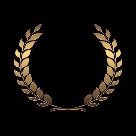 Vector gold award wreaths, laurel on black background vector illustration Иллюстрация