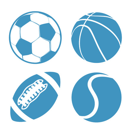 balones deportivos: Conjunto de bolas Deportes Fútbol Baloncesto Fútbol americano tenis vector Vectores