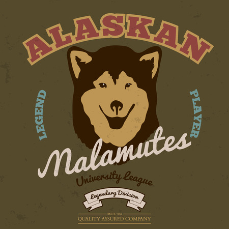 alaskan malamute: Alaskan malamute club. Tee graphic. Vector. Grunge effect on separate layer