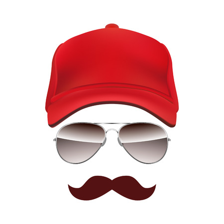 old truck: Baseball cap Glasses and Mustache isolated on white background vector