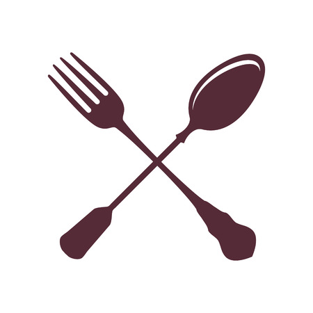 silver ware: Crossed Spoon with Fork isolated on white Background vector illustration