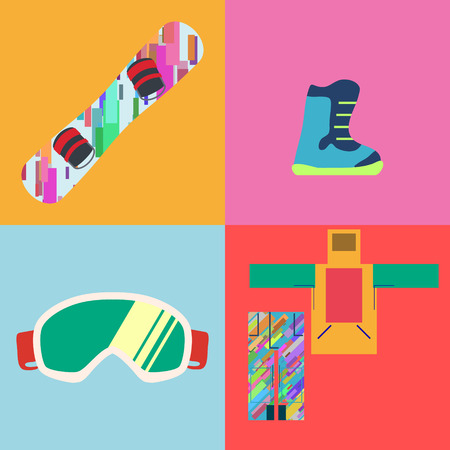 snowboard: Set of Flat Style Snowboard Icons Vector illustration