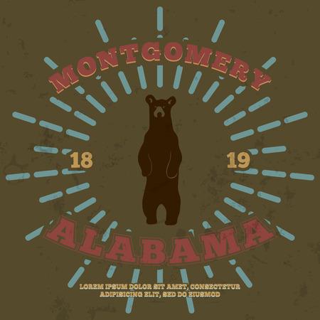 alabama: Montgomery, Alabama. t-shirt graphic print. Vector illustration