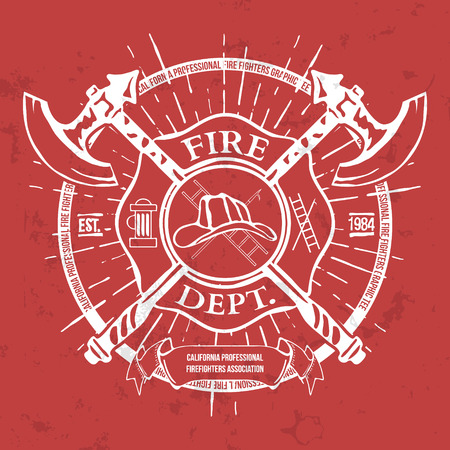 axes: Fire Dept. Label. Helmet with Crossed Axes T-shirt Graphics. Vector Illustration