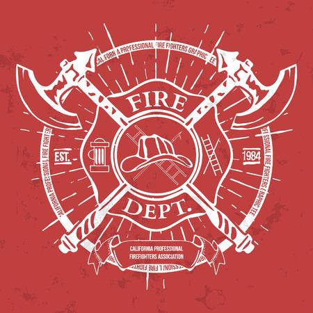 dept: Fire Dept. Label. Helmet with Crossed Axes T-shirt Graphics. Vector Illustration