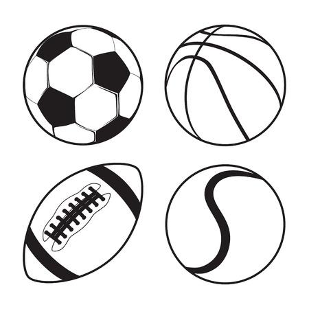 balones deportivos: Conjunto de bolas Deportes F�tbol Baloncesto F�tbol americano tenis vector Vectores