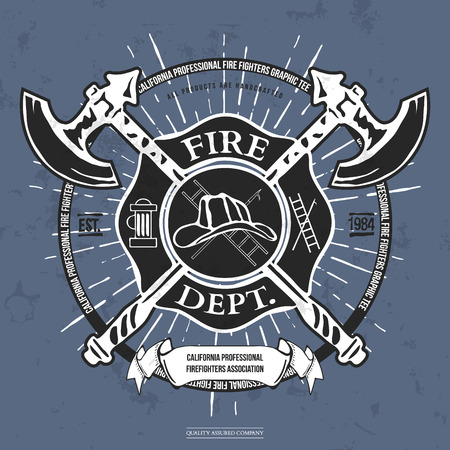 fireman: Fire Dept. Label. Helmet with Crossed Axes T-shirt Graphics. Vector Illustration