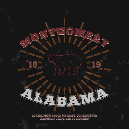 montgomery: Montgomery Alabama. t-shirt graphic print. Vector illustration Illustration