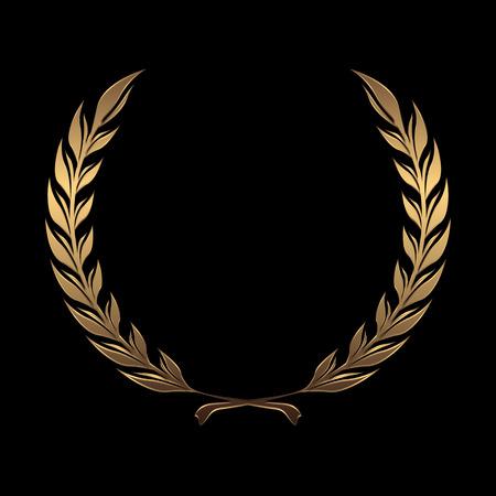 reconocimientos: Coronas de premio de oro del vector, laurel sobre fondo negro ilustración vectorial