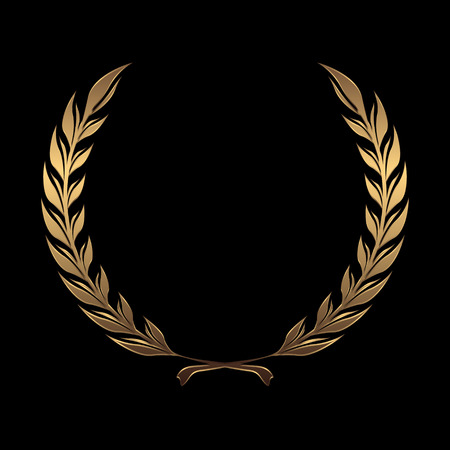 Vector gold award wreaths, laurel on black background vector illustration Stock Illustratie
