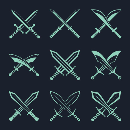 cutlass: Set of heraldic swords and sabres for heraldry design vector illustration Illustration