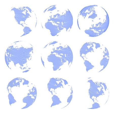 Set of nine Vector abstract globe isolated on white background illustration Stock Illustratie