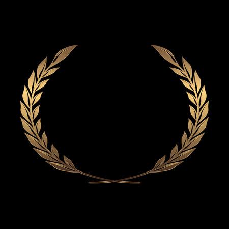 Coronas de premio de oro del vector, laurel sobre fondo negro ilustración vectorial