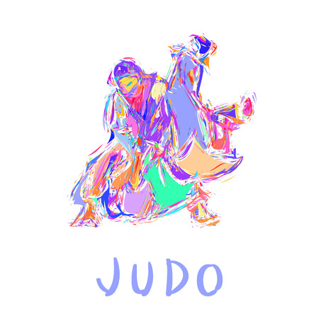 bushido: Hand Drawn Judo Throw Isolated Vector Illustration Illustration