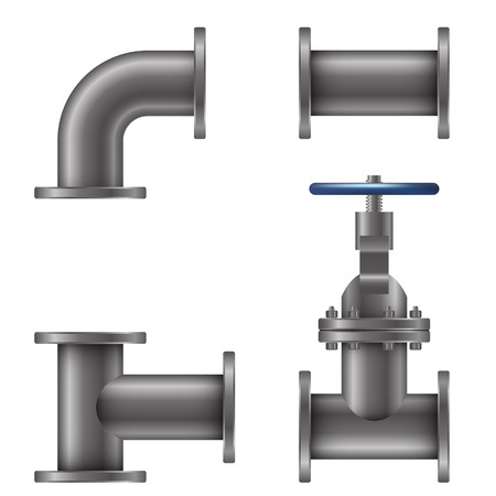 Pipes elements isolated on white background vector illustration Vettoriali