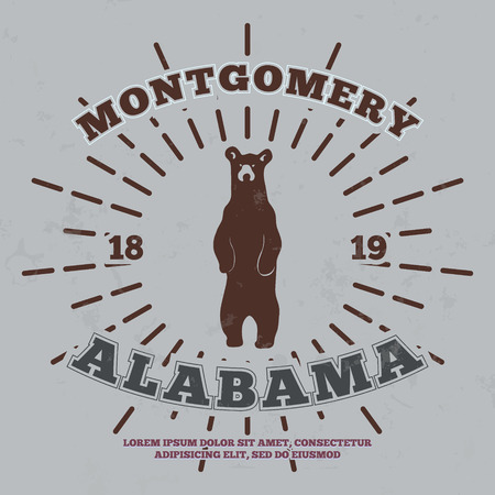 montgomery: Montgomery, Alabama. t-shirt graphic print. Vector illustration