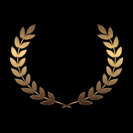 Vector gold award wreaths, laurel on black background vector illustration  イラスト・ベクター素材
