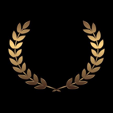 famous actress: Vector gold award wreaths, laurel on black background vector illustration Illustration