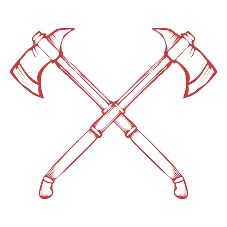 axes: Hand Drawn Crossed Battle Axes isolated on white background vector illustration Illustration