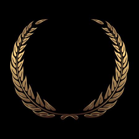 金賞受賞の花輪をベクトル、黒の背景のベクトル図にローレル  イラスト・ベクター素材
