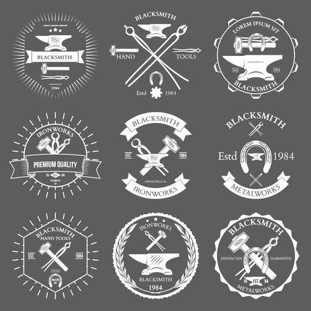 blacksmith: Set of vintage blacksmith labels and design elements vector illustration