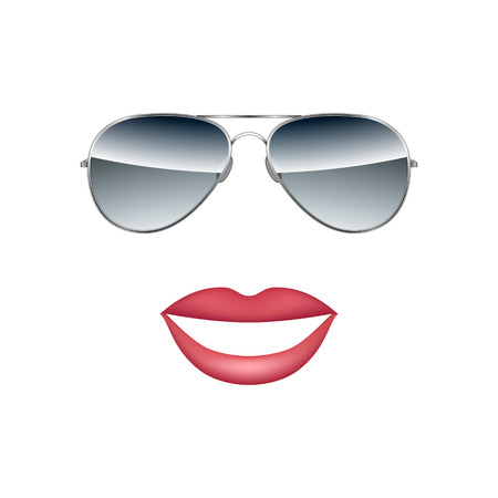 Glasses with lips isolated on white background vector illustration