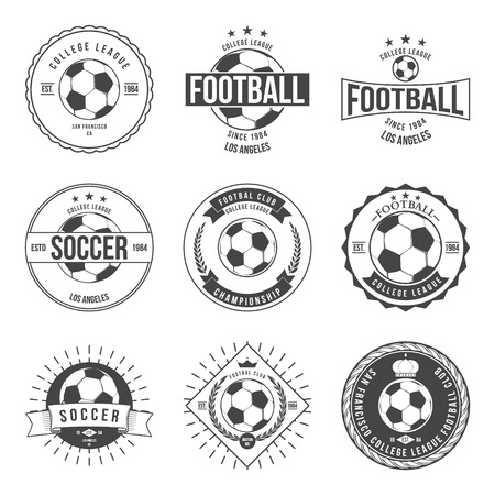 insignias: F�tbol F�tbol Tipograf�a Dise�o de la insignia del vector Elemento