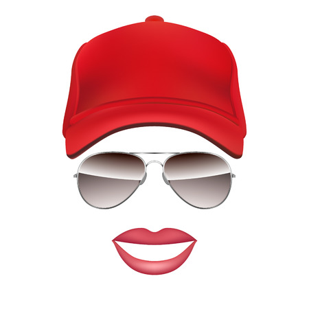 Baseball cap Glasses and lips isolated on white background vector illustration