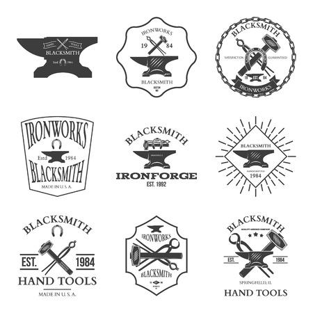 foundry: Set of vintage blacksmith labels and design elements vector illustration
