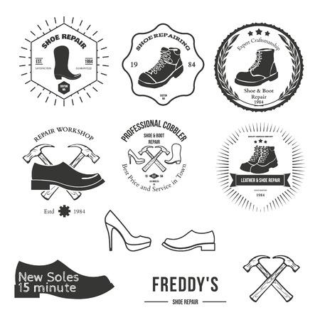 Set of vintage logo, badge, emblem or logotype elements for shoemaker, shoes shop and shoes repair