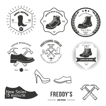 old shoes: Set of vintage logo, badge, emblem or logotype elements for shoemaker, shoes shop and shoes repair