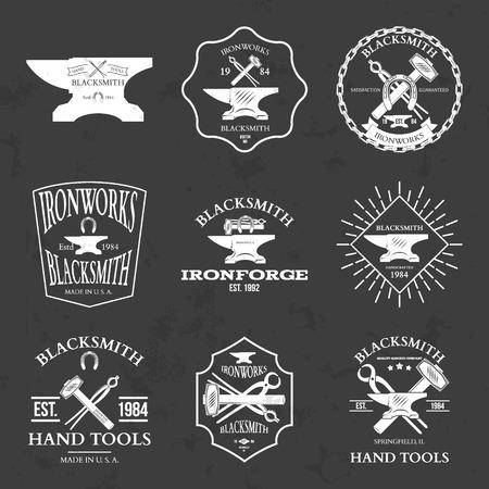 metalwork: Set of vintage blacksmith labels and design elements vector illustration