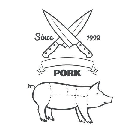 cut short: Vintage butcher cuts of pork menu chalk vector illustration
