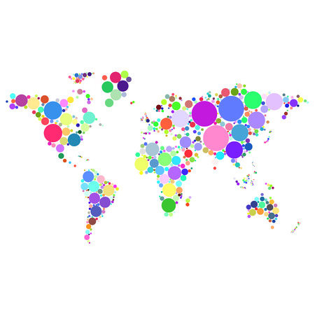 Vector abstract worldmap colorful dots isolated on white background illustration Illustration