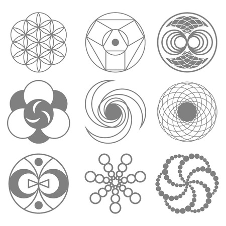 kabbalah: Set of Circles on Wheat Fields Vector Illustration