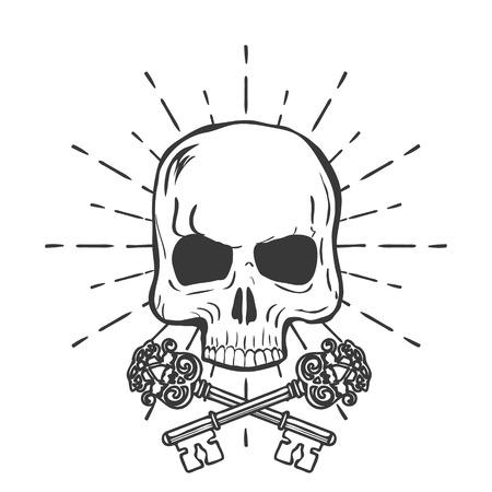 keys isolated: Cr�neo con llaves cruzadas aisladas sobre fondo blanco ilustraci�n vectorial