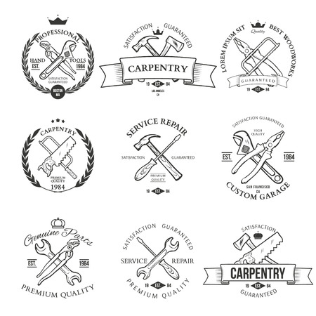 Set of vintage carpentry hand tools, repair service, labels and design elements vector Stock fotó - 42460352