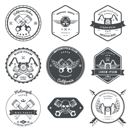 motor scooter: Race Bikers Garage Repair Service Emblems and Motorcycling Clubs Tournament Labels Collection isolated. Vector illustration Illustration