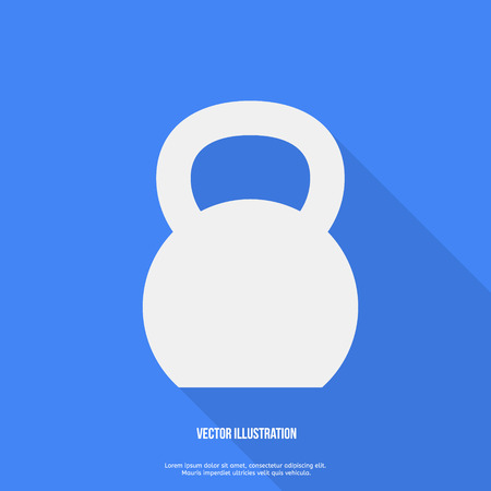 Flat Style Kettlebell Icon with Long Shadow Vector illustration
