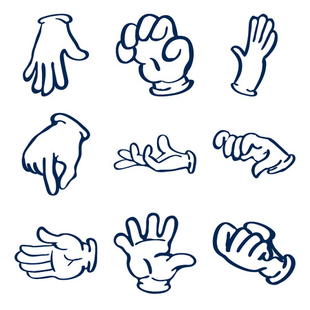obscene gesture: Cartoon gloved hands. Vector clip art illustration
