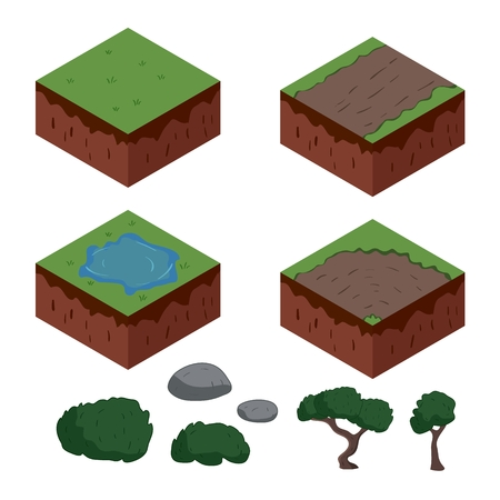 stone road: Set of cartoon isometric ground elements for games. vector illustration Illustration