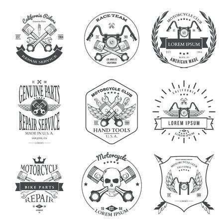 Course Bikers Garage Réparation Emblèmes de service et de Motocyclisme Clubs Tournoi Labels Collection isolé. Vector illustration Illustration