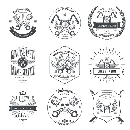 Race Bikers Garage Repair Service Emblems and Motorcycling Clubs Tournament Labels Collection isolated. Vector illustration Иллюстрация